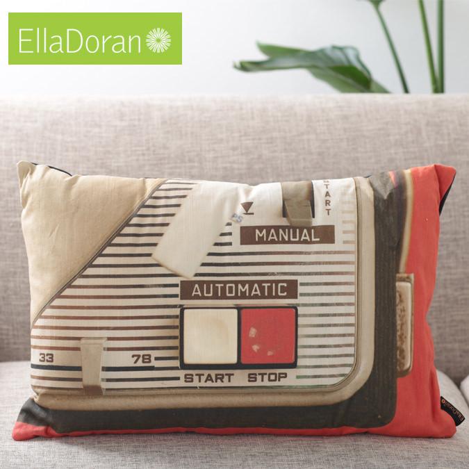 Ella Doran 英国製 クッション 横長 エラドラン UK デザイナー Made in UK Portables 60cm×40cm ポータブル レコード デッキ イギリス 雑貨 プレゼント ギフト 新生活 新居 引越し祝い 子供