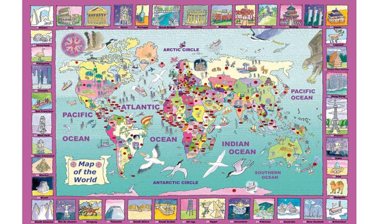 Went Worth ジグソーパズル 世界地図 World Map 雑貨 50ピース 36cm x 25cm 【送料無料】イギリス製 プレゼント went4225 プレゼント ギフト 新生活 新居 引越し祝い 新築 子供