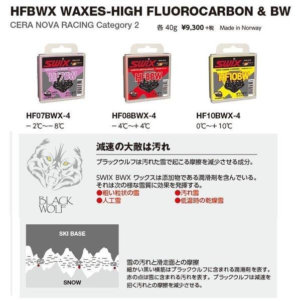 SWIX(スウィックス) HF07BWX-4 -2℃~-8℃ HF08BWX-4 -4℃~+4℃ HF10BWX-4 0℃~+10℃ フッ素高含有ワックス  40g ブラックウルフ BLACK WOLF