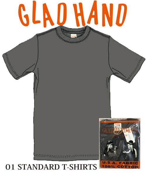 特価品コーナー☆ グラッドハンド GLADHAND GLAD HAND GH-01 01 スタンダードTシャツ パックT 黒色 未使用品 半袖