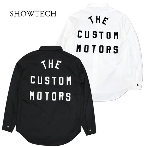 プレゼント 店舗オリジナル ネイビー 白 黒の3色 SHOWTECH 21ss01 メンズ フェルトレター シャツ タイプ3 オリジナル モーターサイクル パッチ 長袖 爆売り ワークシャツ ロゴ