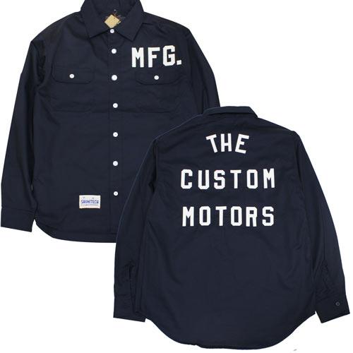 SHOWTECH 20aw0120 メンズ フェルトレター 長袖 シャツ ワークシャツ ネイビー ロゴ パッチ オリジナル