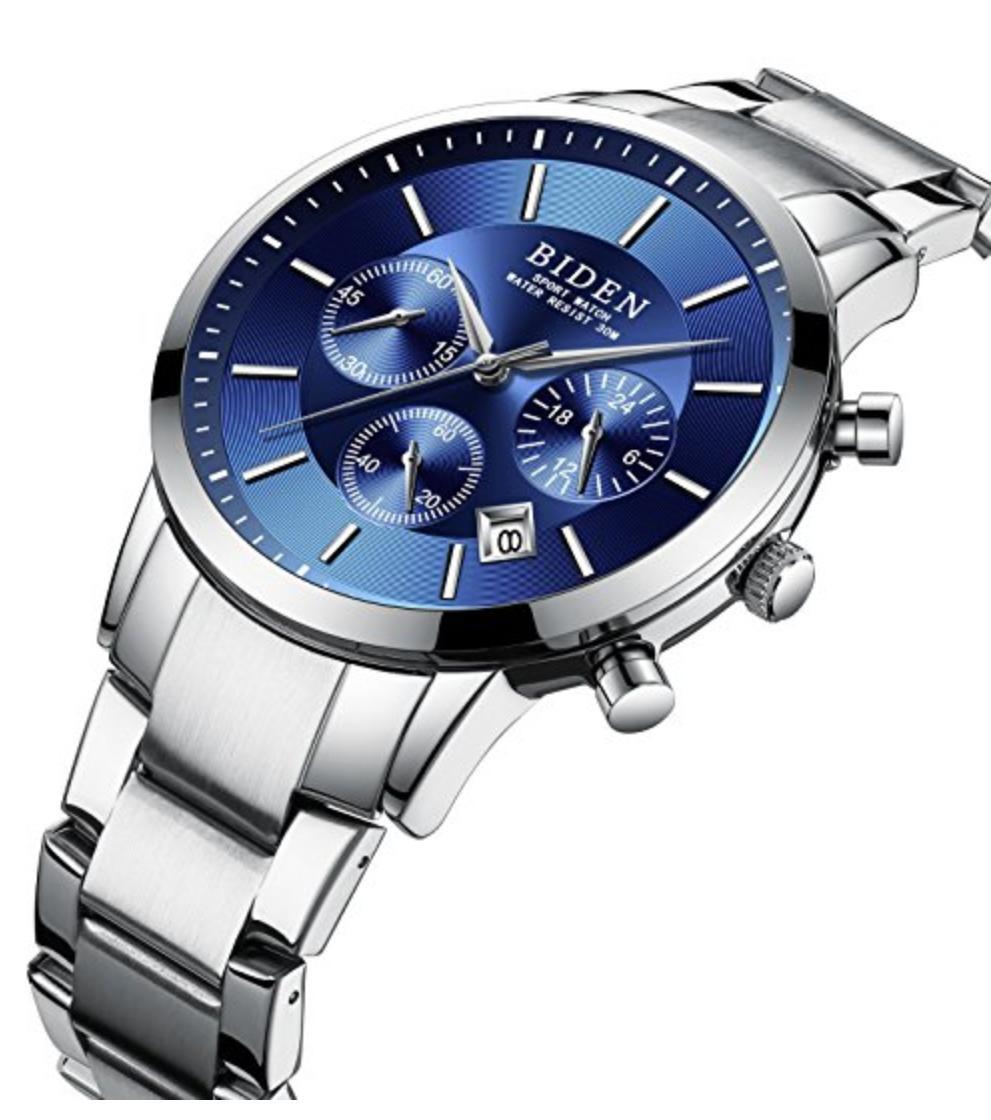 BIDEN 腕時計 高級ビジネスステンレス カジュアル防水クォーツ時計
