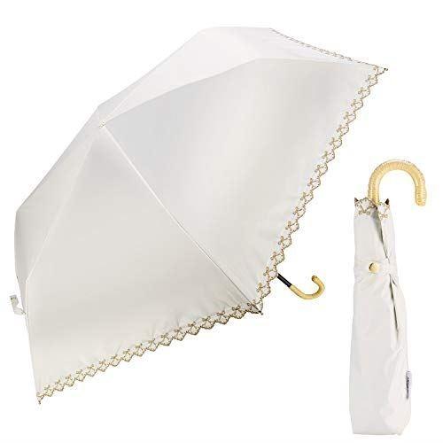 WEISHY 傘 レディース 超軽量 210g おりたたみ傘 日傘 uvカット 100 遮光 折りたたみ コンパクト 折り畳み日傘 PUコーディング 紫外線遮蔽率99.9% 晴雨兼用 携帯便利 耐風撥水 手動 可愛い スカラップカット 刺繍 オシャレ 三段折りたたみ (オフホワイト)