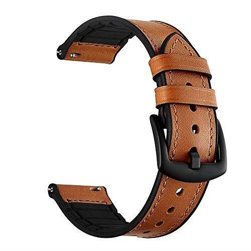Kartice Compatible with Huami Amazfit Bip/ Galaxy Watch 42mm/Galaxy Watch Active 40mm バンド ソフト高級の本革とシリコン合わせてデザインバンド ビジネス用バンドDIGGRO DI03/DIGGRO DI03 Plus用(ブラウン)
