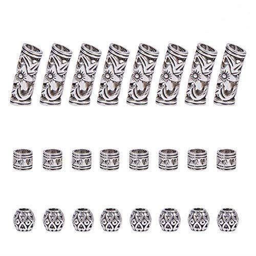 PH PandaHall 約60個/箱 3種 ドレッドロックビーズ 合金 スペーサービーズ チベットスタイル アクセサリーパーツ 編み込み ビーズ ヘアコイルカフス ジュエリー用 ハンドメイド 手芸パーツ