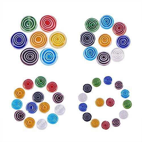 PH PandaHall 約200個/箱 4サイズ 6/8/10/12mm ガラスビーズ ミルフィオリ ムラーノ 丸玉 ビーズ ペンダント アクセサリートップ 透明 図案付き プリント花柄 はんぱ硝子ビーズ ジュェリー製作 ブレスレット・ネックレス・ピアスなど 手作り素材