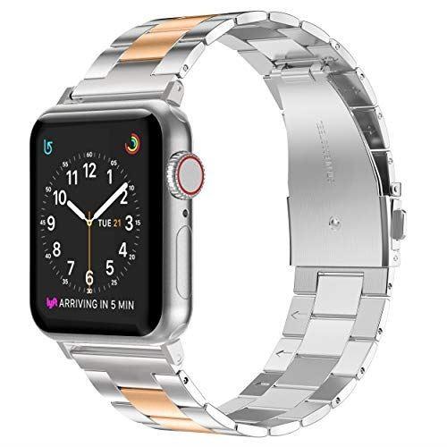 Apple Watch バンド/Apple Watch 4 バンド,Wearlizer アップルウォッチ iwatch,apple watch series 4/3/2/1対応 アップルウォッチ 4 apple watch 4 バンド iwatch ステンレス バンド 軽量 調整工具付(ローズゴールド+シルバー 42mm 44mm)