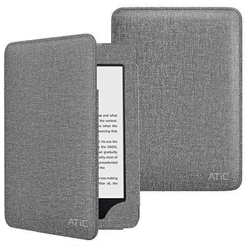ATiC Amazon Kindle Newモデル ケース Kindle 第10世代 2019用 全面保護型カバー オートスリープ機能付き 耐衝撃 落下防止 収納ポケット付き グレー