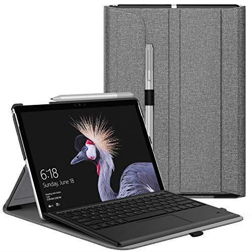 ATiC Microsoft Surface Pro 7/6/5/4/LTE タブレットケース ビジネスカバー マイクロソフト カバー保護ケース 放熱性 落下防止 耐衝撃 耐久性 全面保護 スタンド仕様 手帳型 高級感 ペンホルダー付き Microsoft専用キーボード対応 Gray