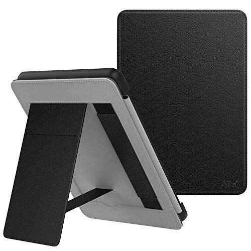 ATiC Kindle 10 ケース 2019年新発売 第10世代用 スマートカバー 耐衝撃 傷防止 カード収納オートスリープ機能 ハンドストラップ付き マイクロファイバー付き 超軽量 薄型 おしゃれ 特別な折り紙式 スタンド保護カバー Silk Black