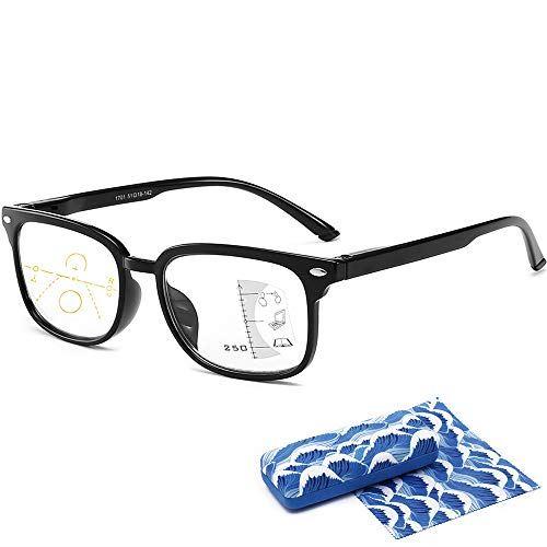 YAKIDA 老眼鏡 めがね 遠近両用メガネ ブルーライトカット UVカット 超軽量 シニアグラス おしゃれ コンパクト パソコン・スマホ用 ケース めがね拭き付き メンズ レディース (度数+1.50, ブラック)