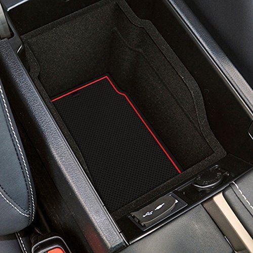 インテリアラバーマット に適用する 新型ハリアー harrier 60系 ブラック ドアポケットマット コンソールマットフロアマット ノンスリップ マット 赤/光沢のある白/黒 (赤)
