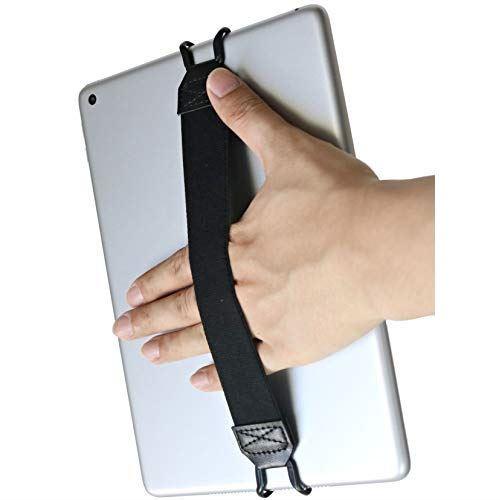 WIDE Ver. 落下防止 伸縮 ラバー バンド グリップ ベルト 簡単脱着 挟み込み 品質検査済 クリップ フック 安全 iPad 返品送料無料 ストラップ バンドル タブレットPC用 BLACK サポーター リスト ハンド タブレットPC