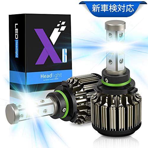 HB4 LED ヘッドライト 車検対応,AutoGo 【高品質】LED ヘッドライトHB4/9006 8000LM 52W 12V/24V対応 高輝度 COBチップ搭載 360°発光 高効率放熱 冷却ファン内蔵 IP67防水 6500K超純白発光【2個入】