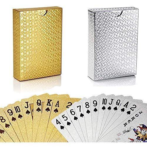 店内限界値引き中&セルフラッピング無料 GORCHEN トランプ シルバー+ゴールド 2組 防水 フレックスカード カードゲーム 54枚入り マジック 洗える ダイヤモンドシリーズ 驚きの価格が実現