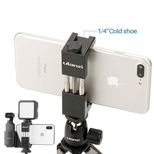 Ulanzi スマホスタンド osmo pocket携帯ホルダー 金属製 三脚に対応 三脚電話マウント ホットシューマウント付きスマートフォンホルダーアダプター iPhone 7 + Samsung用