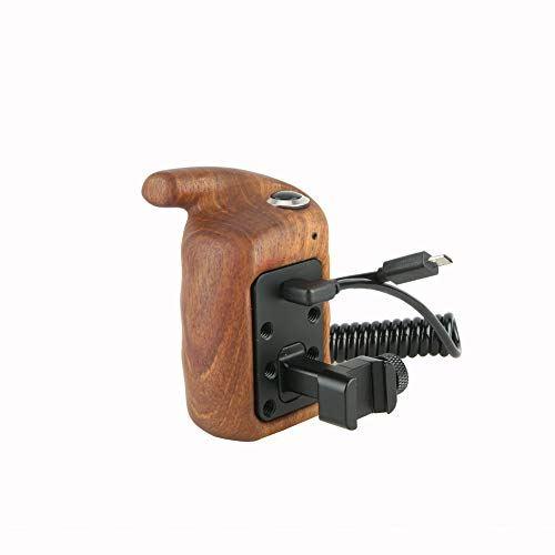 NICEYRIG 木製ハンドグリップ カメラケージハンドル NATOレールクランプ付き 汎用 左側手用 ウッドグリップ RECトリガー ソニーA7シリーズ用 コントロールボタン付き DDSLRカメラケージ用 Camera Wooden Handle SLR装備 撮影器材アクセアリ -296
