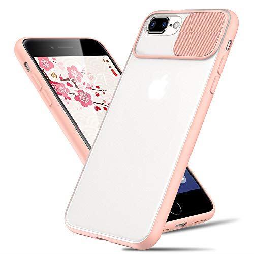 Sitikai iphone 7plus ケース 8plus 半透明 カメラレンズ保護 軽量 一体感 擦り傷防止 カバー iphone7plus 耐衝撃 アイフォン7plus マット感 ピンク 新作多数 10%OFF TPU+PC素材 黄ばみなし