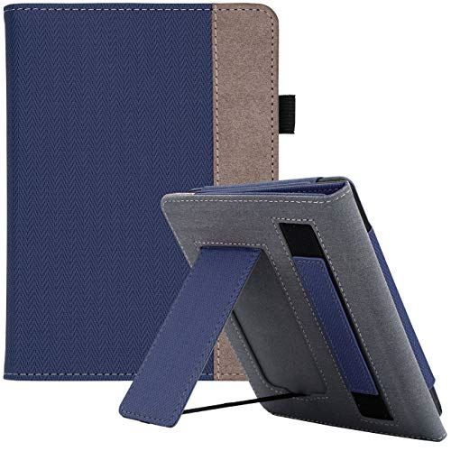 WALNEW AMAZON Kindle Paperwhite第十世代カバー ケース 2018 Kindle Paperwhite Newモデル(第10世代)に適応 スタンド機能 ベルト付き マグネット機能搭載カバー ネービーブルー