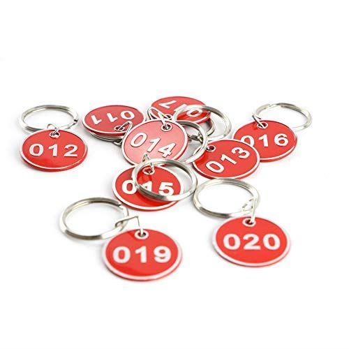 アルミニウム プラスチック ドア番号タグ クローク 日本限定 新商品 番号札 1-50 ロッカー タグ レッド, キーラベルタグ