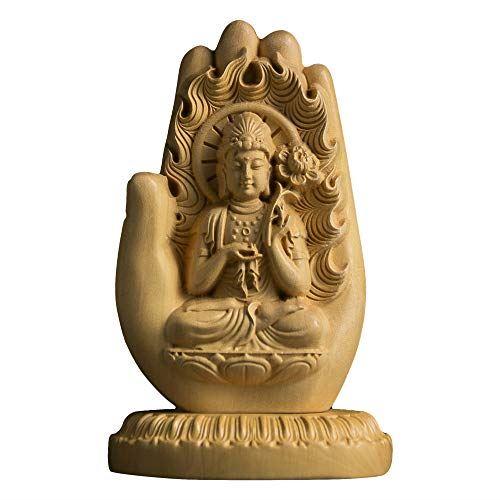 仏像 人気上昇中 木彫り勢至菩薩 守り本尊 置物 通販 激安◆ 手作り 高さ11.5cm×巾7.5cm×奥行5.5cm 仏壇仏像 TheChanger