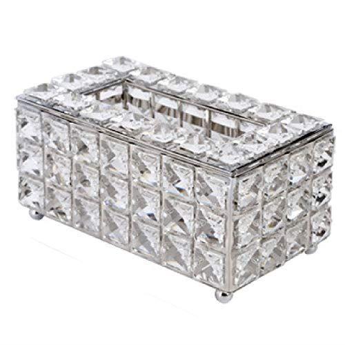 HAMILO ティッシュボックス ティッシュケース クリスタルガラス インテリア 豪華 応接室 居間 (シルバー)