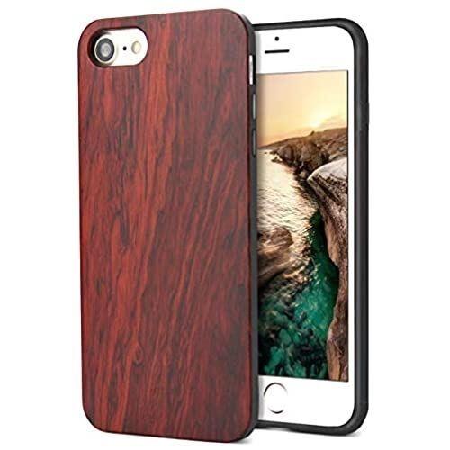 iPhone SE ケース 第2世代 iPhone8 大幅値下げランキング iPhone7 対応 ローズウッド木製 木+TPU ワイヤレス充電対応 アイフォンSE 純色 軽量 赤 SE2 アイフォン8 ハードカバー 2020年モデル アイフォン7 訳あり品送料無料 YFWOOD