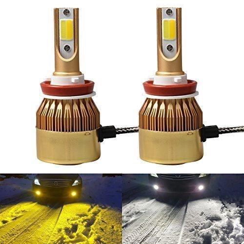 Futwod LED ヘッドライト/フォグランプ H8 H9 H11 H16(JP) イエロー 3000K ホワイト 6000K 2色切り替え 車用 LEDバルブ H11 LED フォグ H8 LEDヘッドライト ロービーム H16 バルブ 黄色 白 2色 冷却ファン内蔵 COBチップ搭載 12V 36Wx2 3600LMx2