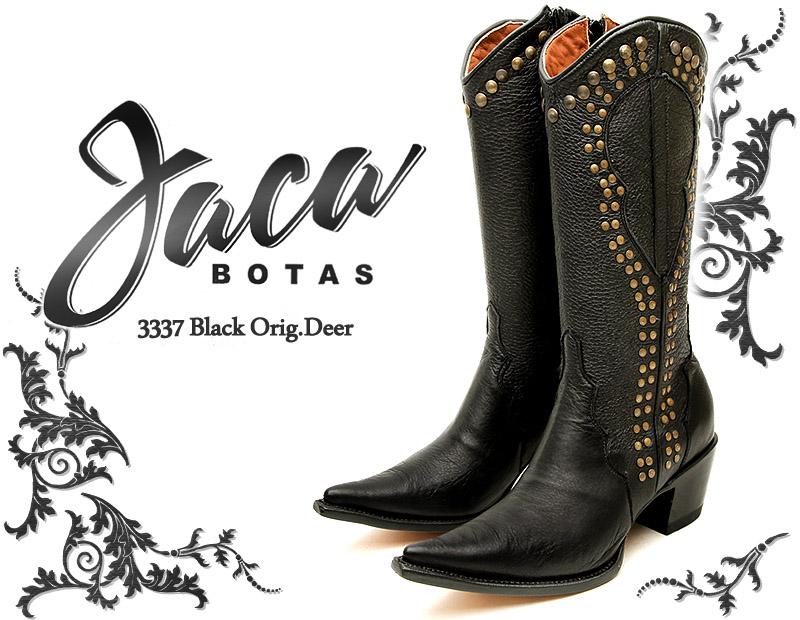 [Botas Jaca] ハカ 3337 Black Orig.Deer ブラック・ディアスキン レディース 本革 ウエスタンブーツ ロングブーツ