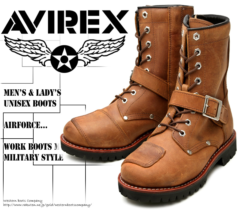 [AVIREX] アヴィレックス(アビレックス) AV-2100 YAMATO ヤマト Crazy Horse クレイジーホース メンズ&レディース 本革 ライダースブーツ ミリタリーブーツ ショートブーツ