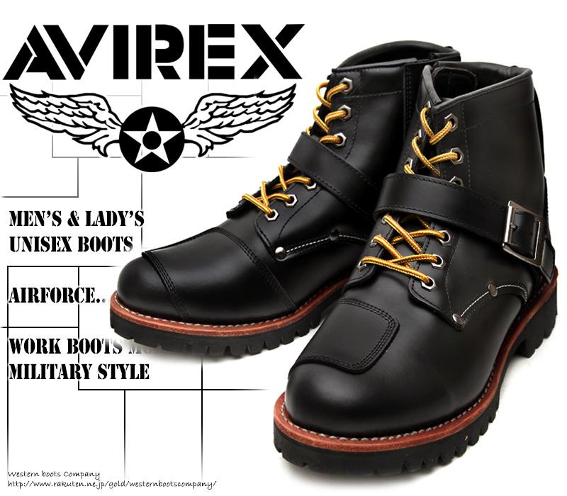 [AVIREX] アヴィレックス(アビレックス) AV-2931 TIGER タイガー Black ブラック メンズ&レディース 本革 ライダースブーツ ミリタリーブーツ ショートブーツ