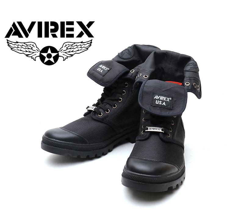 [AVIREX] アヴィレックス(アビレックス) AV-3402 SCORPION-HI NYLON Black ブラック メンズ&レディース 本革 スニーカーブーツ