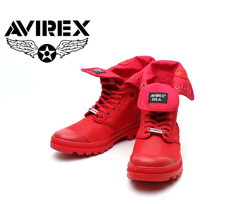 [AVIREX] アヴィレックス(アビレックス) AV-3402 SCORPION-HI NYLON Red レッド メンズ&レディース 本革 スニーカーブーツ