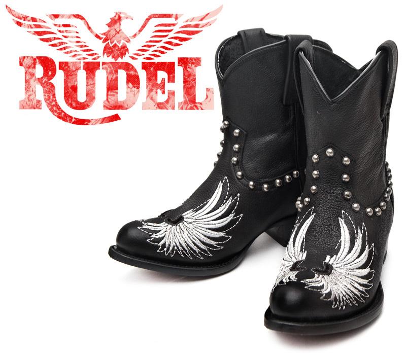 [Botas RUDEL] ルーデル RUDJ004 Bokl Negro ブラック レディース 本革 スタッズ ウエスタンブーツ カウガールブーツ ショートブーツ