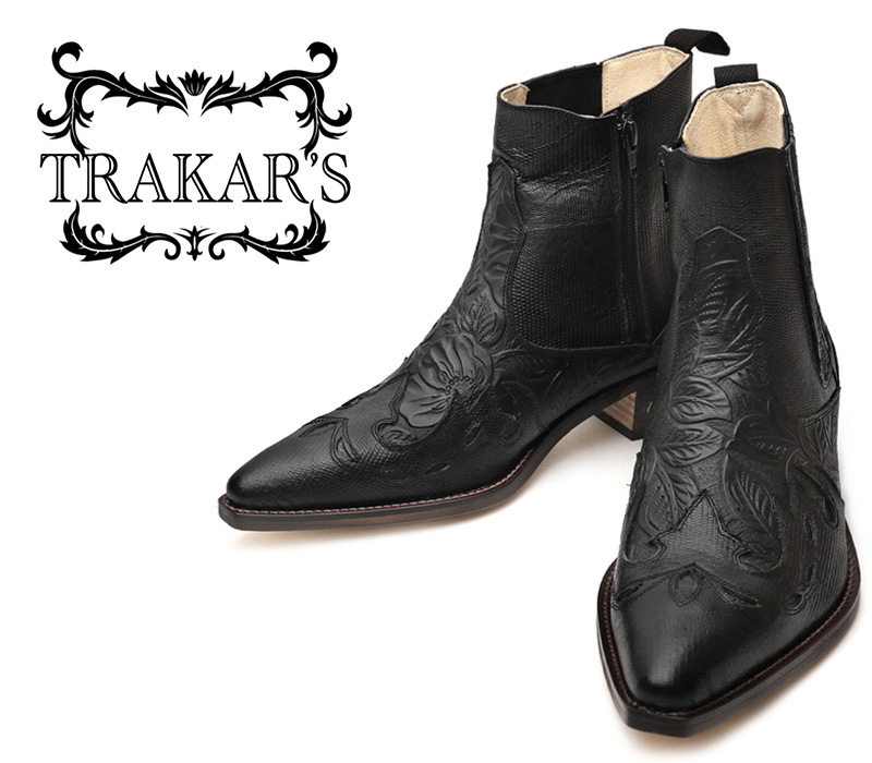 [TRAKAR'S] トラッカーズ 14304 Black-Liz×All Black-FLW(No.9) オールブラック メンズ レディース 本革 ウエスタンブーツ ショートブーツ