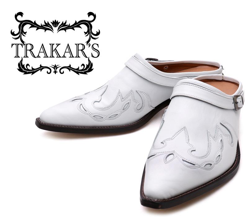 [TRAKAR'S] トラッカーズ 25402 White×White ホワイト メンズ レディース 本革 ウエスタンブーツ ミュール(クロッグ)