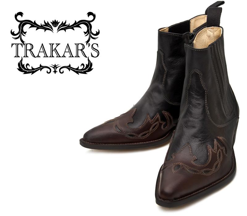 [TRAKAR'S] トラッカーズ 14300 Brown×Black ブラウン×ブラック メンズ レディース 本革 ウエスタンブーツ ショートブーツ