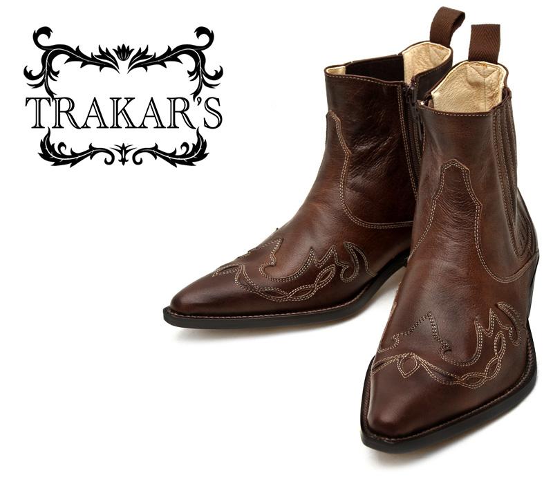 [TRAKAR'S] トラッカーズ 14300 Brown×Brown ブラウン メンズ レディース 本革 ウエスタンブーツ ショートブーツ