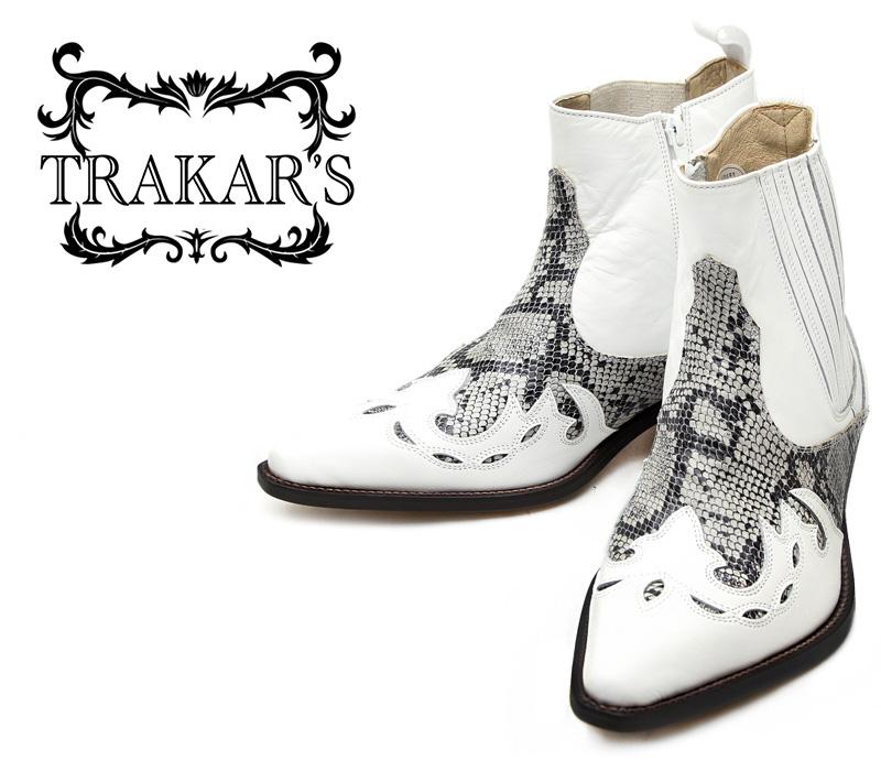 [TRAKAR'S] トラッカーズ 14301 White×Python ホワイト×パイソン(プリント) メンズ レディース 本革 ウエスタンブーツ ショートブーツ
