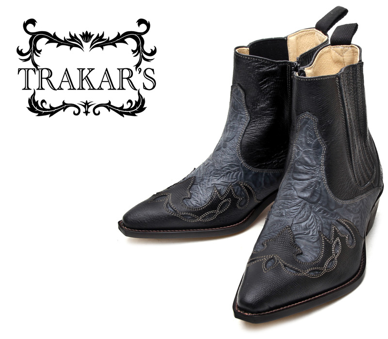 [TRAKAR'S] トラッカーズ 14304 Black-Liz×Black-Flower ブラック メンズ レディース 本革 ウエスタンブーツ ショートブーツ