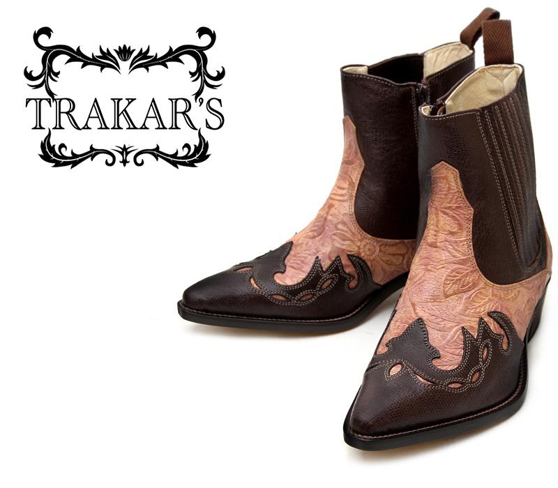 [TRAKAR'S] トラッカーズ 14304 Brown-Liz×Beige-Flower メンズ レディース 本革 ウエスタンブーツ ショートブーツ