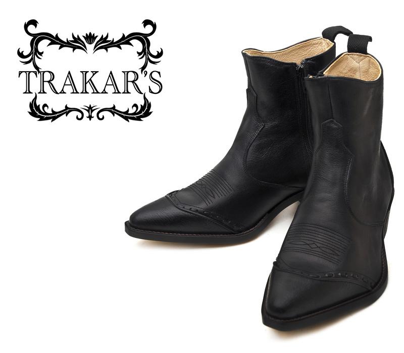 [TRAKAR'S] トラッカーズ 14305 Black-Liz×Black ブラック メンズ レディース 本革 ウエスタンブーツ ショートブーツ