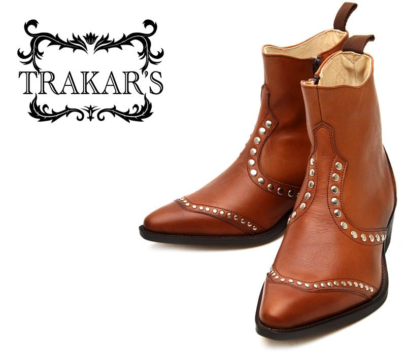 [TRAKAR'S] トラッカーズ 14309 M/Brown×M/Brown スタッズ ミディアム ブラウン メンズ 本革 ウエスタンブーツ ショートブーツ