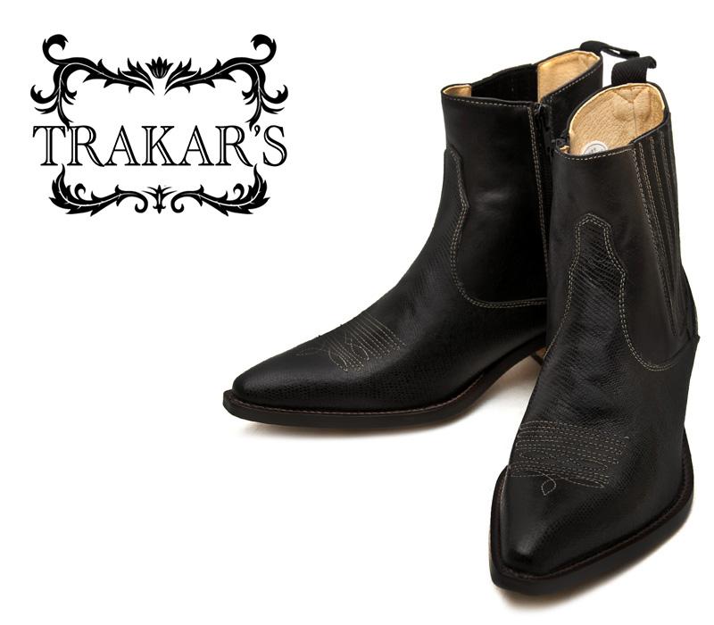 [TRAKAR'S] トラッカーズ 14605 Black-Liz×Black ブラック メンズ レディース 本革 ウエスタンブーツ ショートブーツ