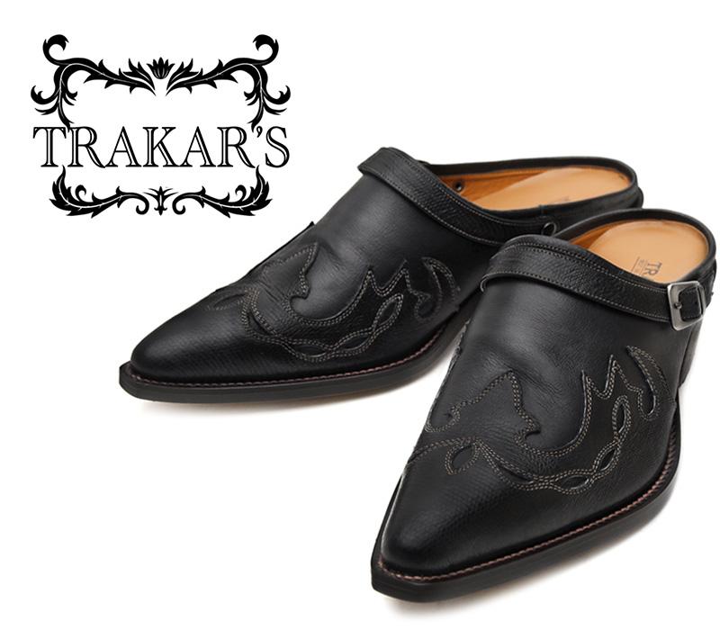 [TRAKAR'S] トラッカーズ 25402 Black-Liz×Black ブラック メンズ レディース 本革 ウエスタンブーツ ミュール(クロッグ)
