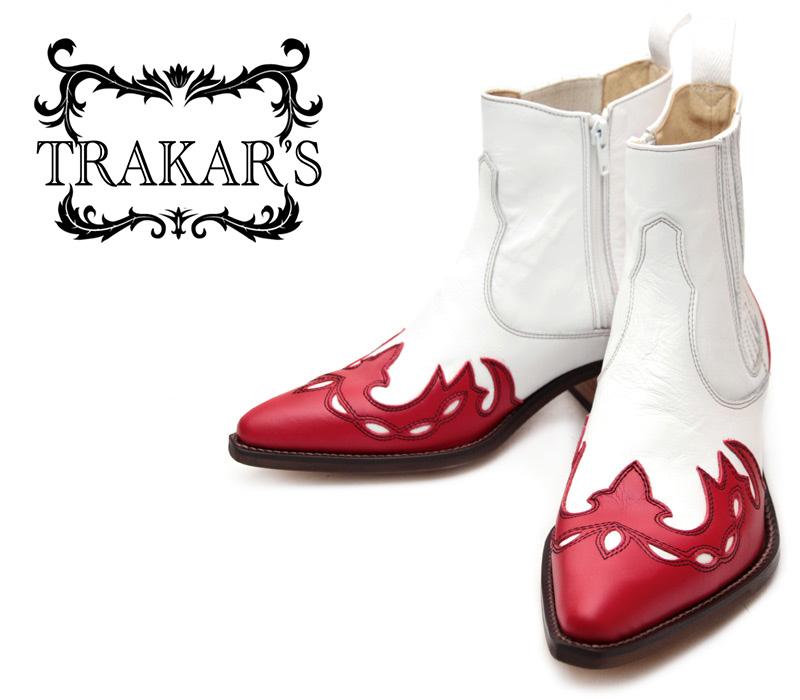 [TRAKAR'S] トラッカーズ 14300 Red×White レッド×ホワイト メンズ レディース 本革 ウエスタンブーツ ショートブーツ
