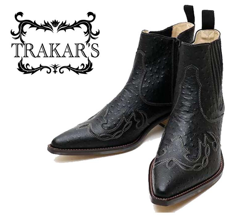 [TRAKAR'S] トラッカーズ 14300 Black-Ostrich ブラック オーストリッチ(プリント) メンズ レディース 本革 ウエスタンブーツ ショートブーツ