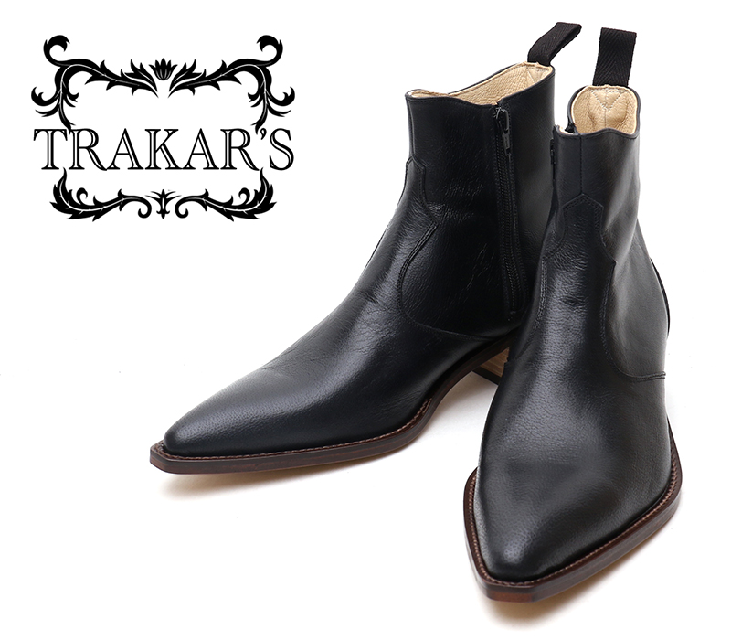 [TRAKAR'S] トラッカーズ 14302 Black ブラック メンズ レディース 本革 ウエスタンブーツ ショートブーツ