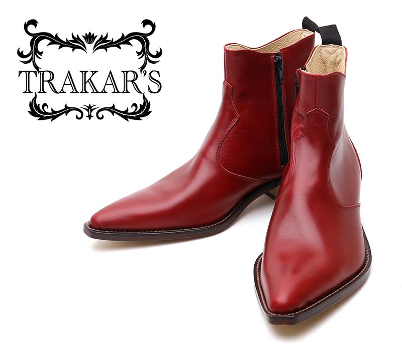 [TRAKAR'S] トラッカーズ 14302 Wine Red ワインレッド メンズ レディース 本革 ウエスタンブーツ ショートブーツ
